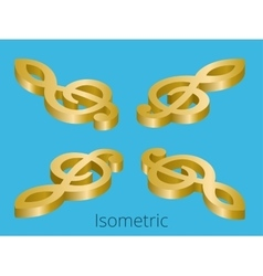Isometric treble clef vector image