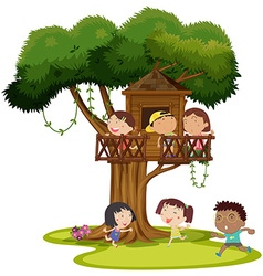 Many kids playing in the treehouse vector image vector image