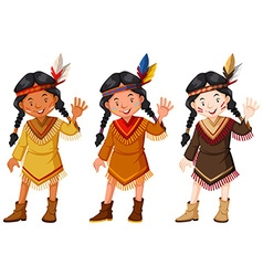 Native American Indians in brown costume vector image vector image