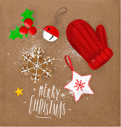 christmas elements glove craft vector image