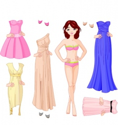 girl with evening dresses vector image vector image