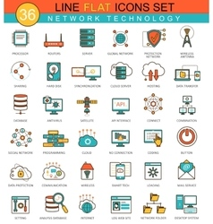 Network technology flat line icon set vector image