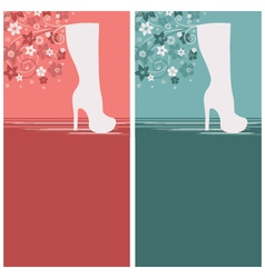 Women fashion boots floral design backgrounds vector image