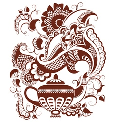 abstract floral teapot silhouette and hot steam vector image