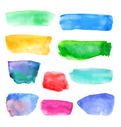 Abstract watercolor set colored hand drawn vector