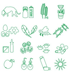 allergy and allergens green outline icons set vector image