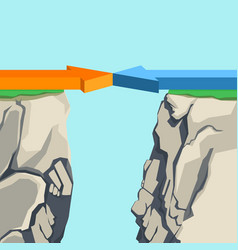 Arrows forming bridge over rocky abyss vector