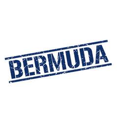 Bermuda blue square stamp vector