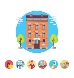 best hotel isolated in circles set vector image