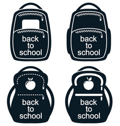 black and white collection of school backpack vector image