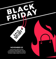 black friday sale social media post flat of vector image
