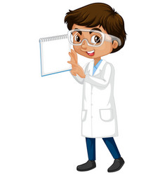 Boy in science gown holding book on white vector