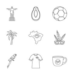 Brazilan symbols icon set outline style vector