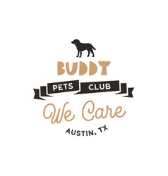 Buddy pet club logo template pet silhouette vector