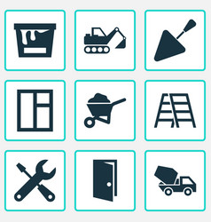 Building icons set collection of digger cement vector