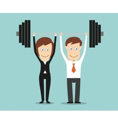 Business team holding a barbell above heads vector image