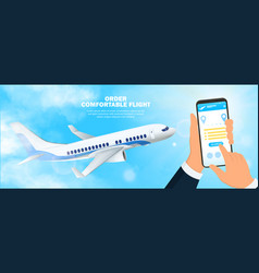 businessman ordering flight tickets on mobile vector image