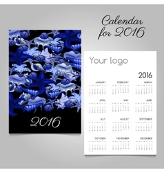 Calendar 2016 with marine lifeand space for logo vector