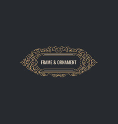 calligraphic elegant ornament frame lines vector image
