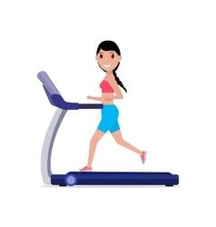Cartoon sporty girl running on a treadmill vector