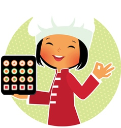 Cartoon sushi chef vector image