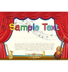 Certification template with musical instrument vector