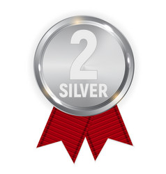 Champion silver medal with red ribbon icon sign vector