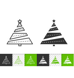 christmas tree simple fir black line icon vector image