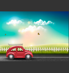 Countryside landscape with a road and a red car vector