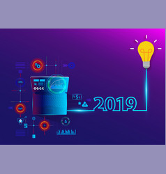 Creative light bulb idea 2019 new year vector