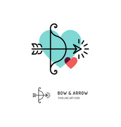 Cupid bow and arrow archery line icons wedding vector