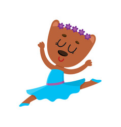 cute bear character ballet dancer in pointed vector image