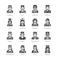 Doctors professions flat glyph icons medical vector