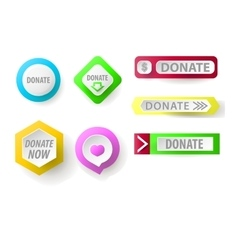 Donate button collection Set of web buttons for vector