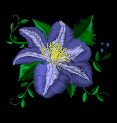 Embroidery blue flower angle pattern vector