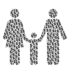 family child composition of dollar and dots vector image