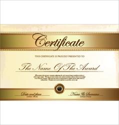 Golden certificate template vector image