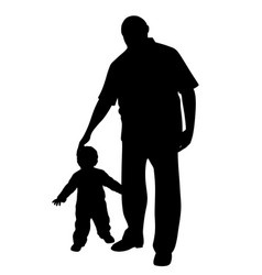 Grandfather with a little child vector