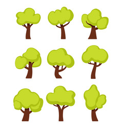 green forest trees cartoon vector image