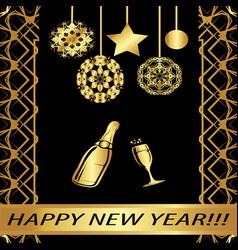 greeting card happy new year vector image