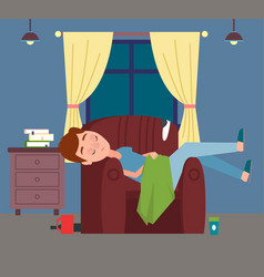 guy or man sleeping in chair relaxing at home vector image
