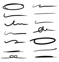 hand drawn line for marking text and circle vector image