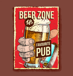 hand holding beer glass advertising banner vector image