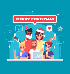 Happy workers are celebrating christmas vector
