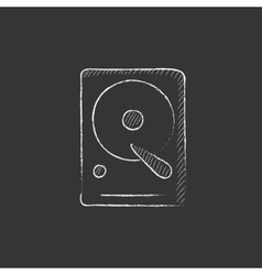 Hard disk Drawn in chalk icon vector