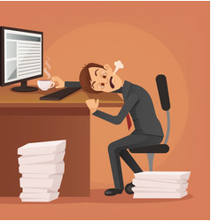 Hard work tired unhappy office worker man vector