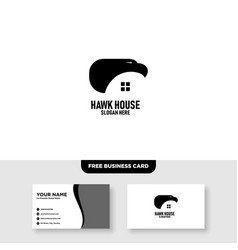 hawk house logo template free business card vector image