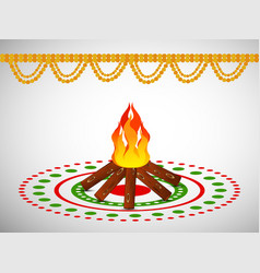 Hindu festival lohri background vector