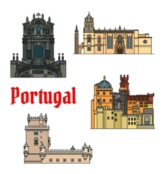 Historic buildings and sightseeings of Portugal vector image