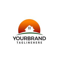 house sun logo design concept template vector image